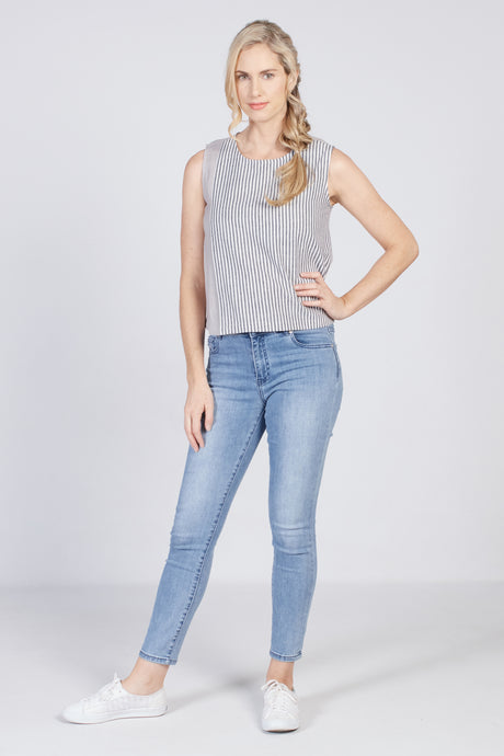 Striped Top Grey