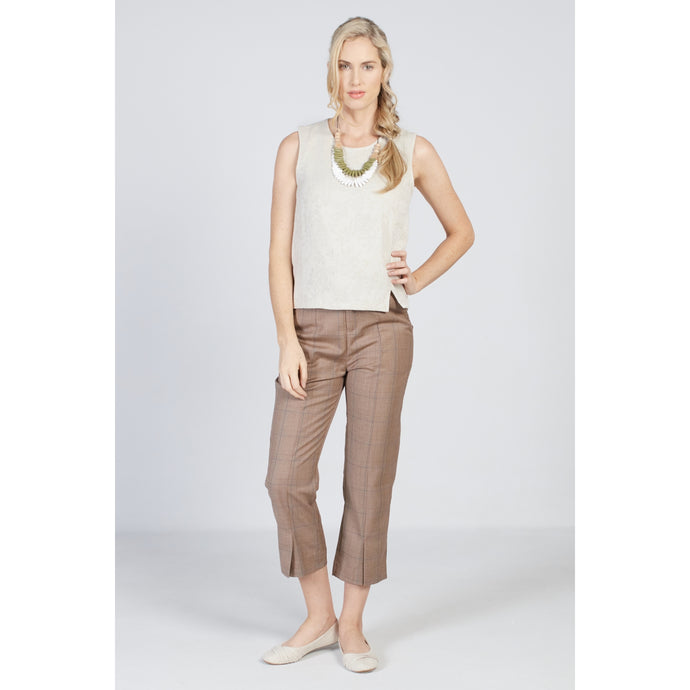 Front Slit Pants Tan