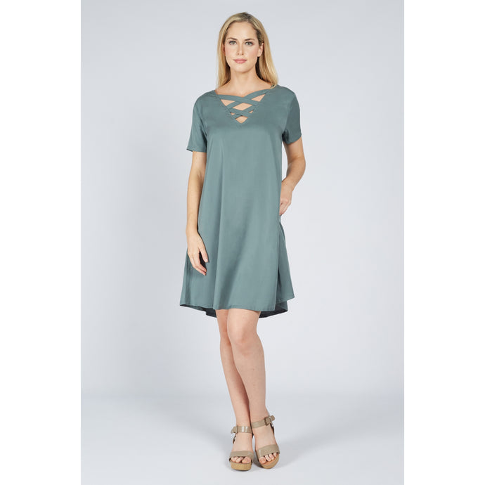 Cross Back Dress Sage Green
