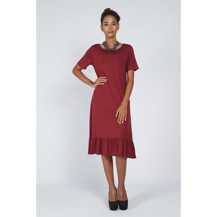 Flared Hem Dress Red Currant