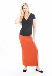 Front Slit Skirt Cinnamon