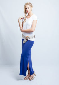 Long Slit Skirt Blueberry