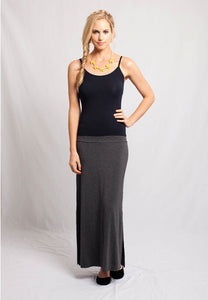 Long Slit Skirt Dark Heather Grey