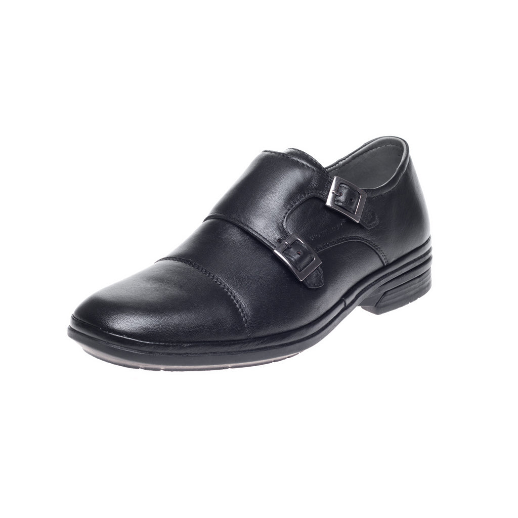 J. Shoetherapy Bubble Therapy  30718 Mens Black Leather Monk Toe Cap  two Buckle shoe