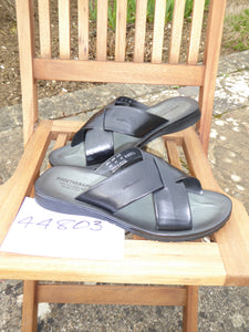 K. Shoetherapy 44803 Mens Black Leather cross over open toe Sandal AVAILABLE IN SAMPLE SIZE 8/42 ONLY Limited Stock!