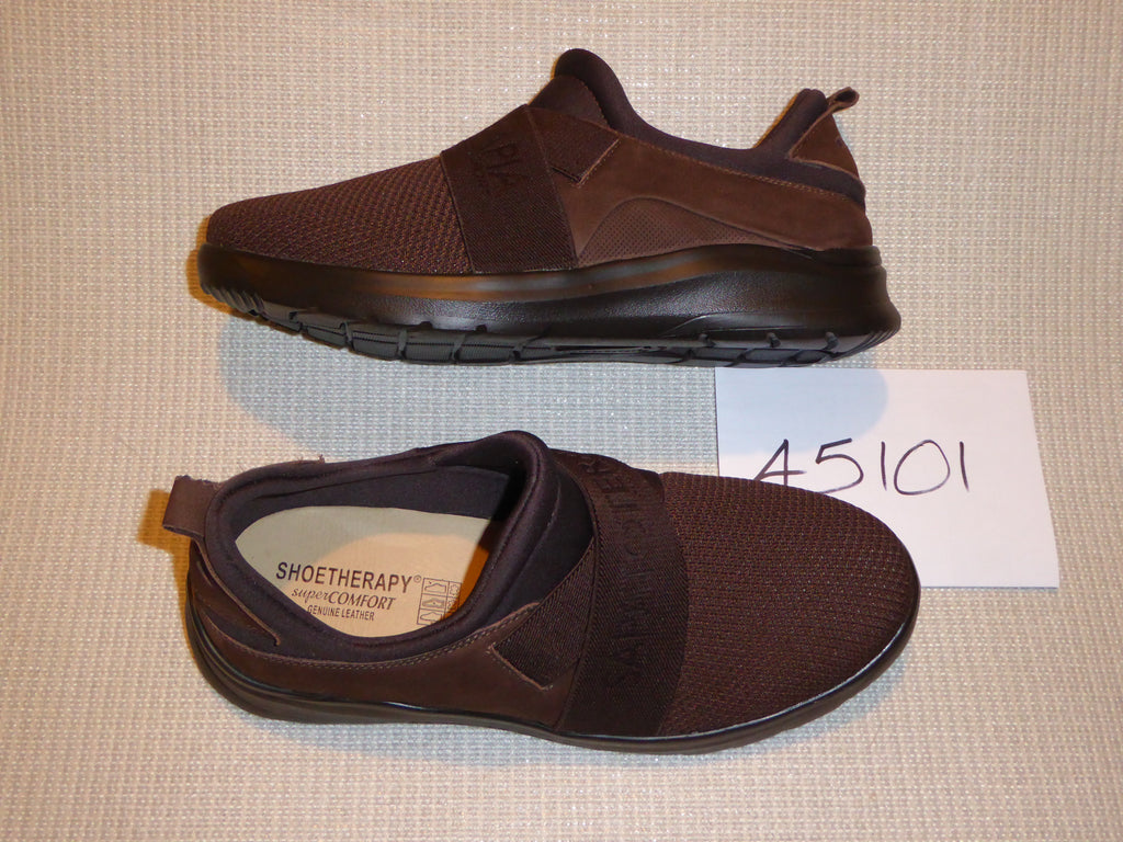 K. Shoetherapy 45101 Mens Dark Brown Slip on Shoe with  man made stretch elastic AVAILABLE IN SAMPLE SIZE 8/42 ONLY Limited Stock!