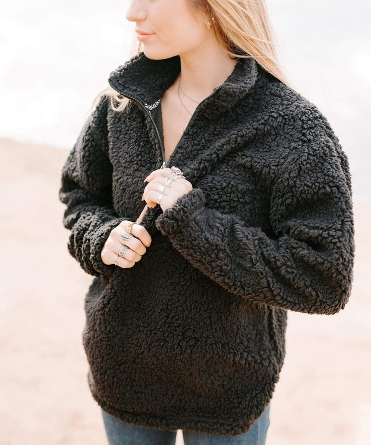 Serengetee - Wear The World Charcoal CabinCozy Quarter Zip Sherpa