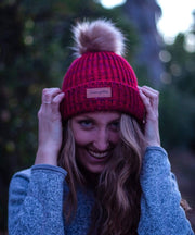 Serengetee - Wear The World Cuffed Speckled Cranberry Pom Beanie