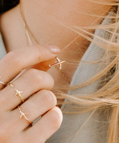 Serengetee - Wear The World Rose Gold Plane Necklace From California