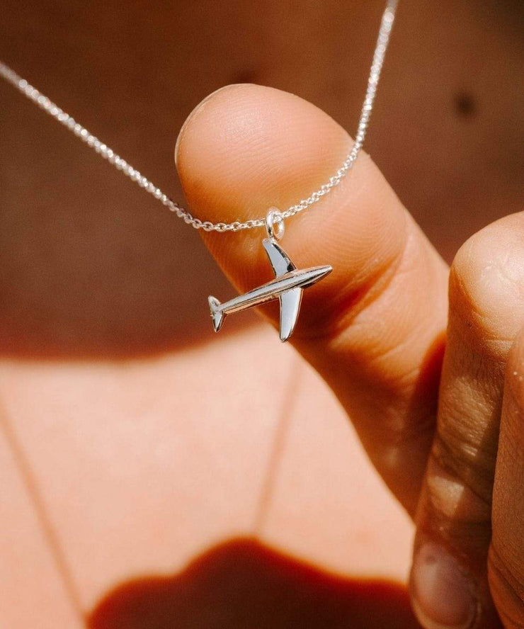 Serengetee - Wear The World Silver Plane Necklace From California