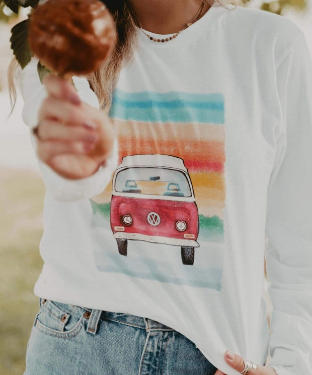 Serengetee - Wear The World Watercolor Love Bus Long Sleeve