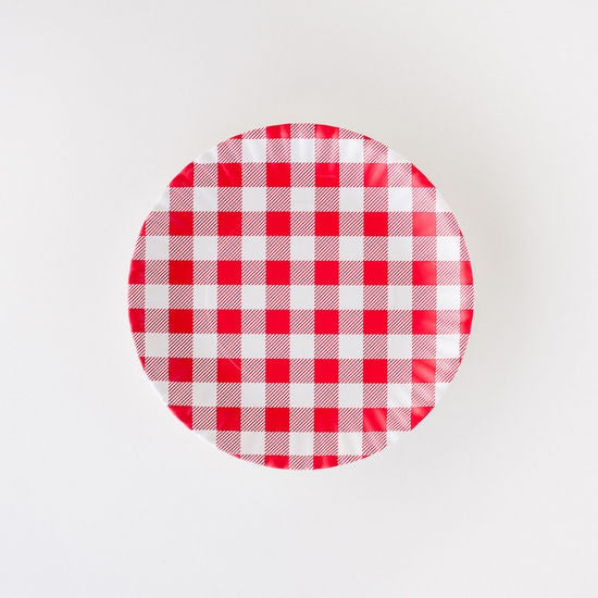"Red Gingham Melamine ""Paper"" Plates, Set of 4"