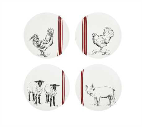 Farm Animal Plate with Red Stripes