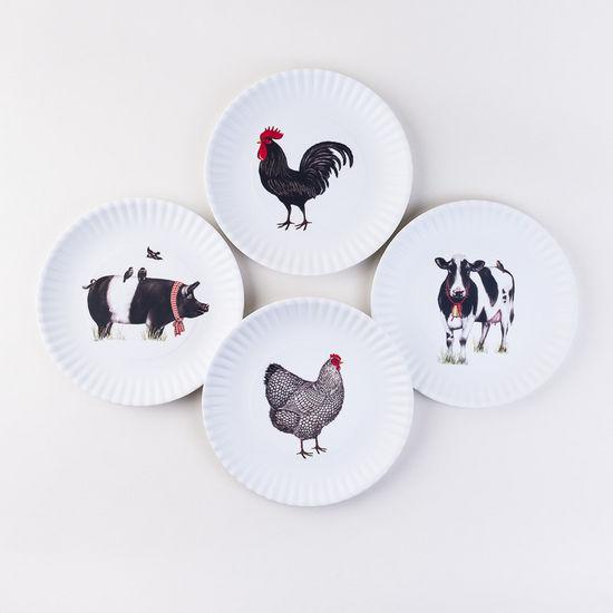 Farmhouse Animals Melamine Plate Set of 4