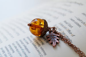 Amber Acorn Necklace
