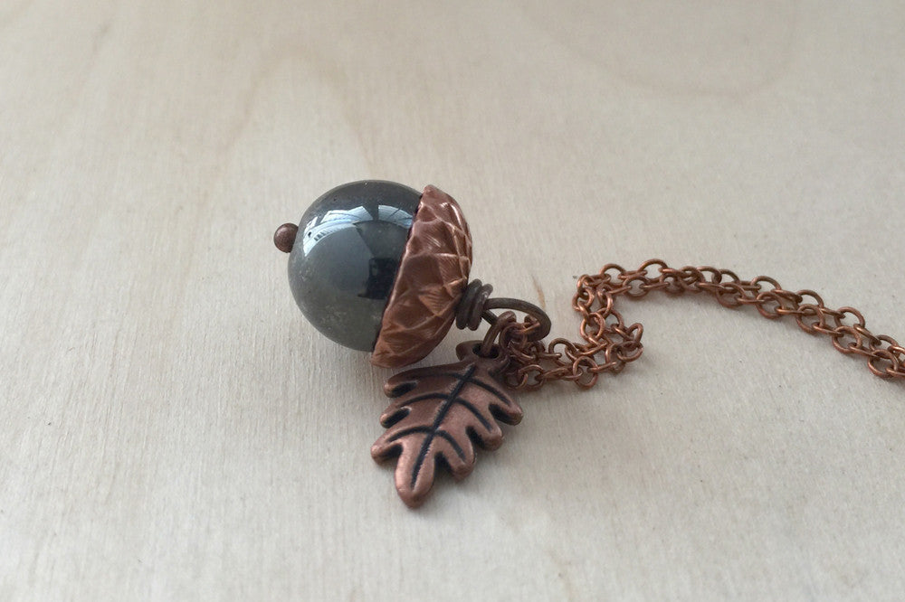 Hematite and Copper Acorn Necklace - Enchanted Leaves