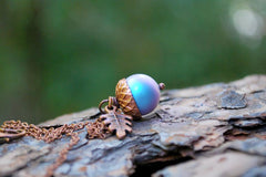 Tide Pool Magic Acorn Necklace | Iridescent Light Blue and Copper Acorn Pendant | Something Blue Wedding Jewelry | Fall Acorn Charm Necklace