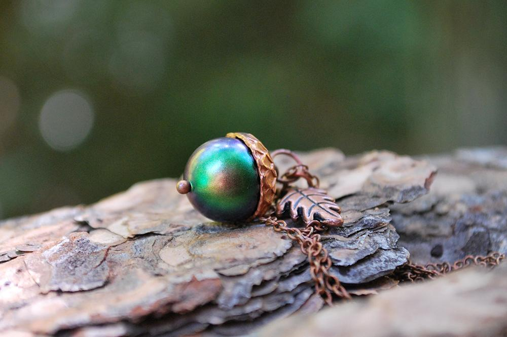 Sylvan Magic Acorn Necklace | Iridescent Green and Copper Acorn Pendant | Nature Jewelry | Fall Acorn Charm Necklace - Enchanted Leaves - Nature Jewelry - Unique Handmade Gifts