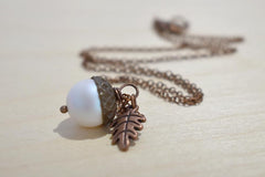 Faerie Magic Acorn Necklace | Iridescent White and Copper Acorn Pendant | Nature Jewelry | Fall Acorn Charm Necklace