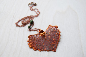 Large Fallen Copper Cottonwood Leaf Necklace