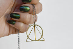 The Wand, the Stone & the Cloak | Deathly Hallows Necklace | Harry Potter Necklace | Golden Deathly Hallows Pendant