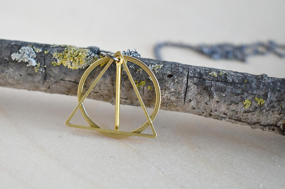 The Wand, the Stone & the Cloak | Deathly Hallows Necklace | Harry Potter Necklace | Golden Deathly Hallows Pendant - Enchanted Leaves - Nature Jewelry - Unique Handmade Gifts