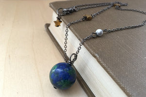 Earth & Moon Necklace - Enchanted Leaves
