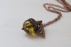 Green Amber and Copper Acorn Necklace