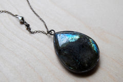 Giant Labradorite Teardrop Necklace