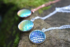 Iridescent Green Mermaid Scale Necklace | Round Mermaid Scales Pendant | Magic Mermaid Jewelry