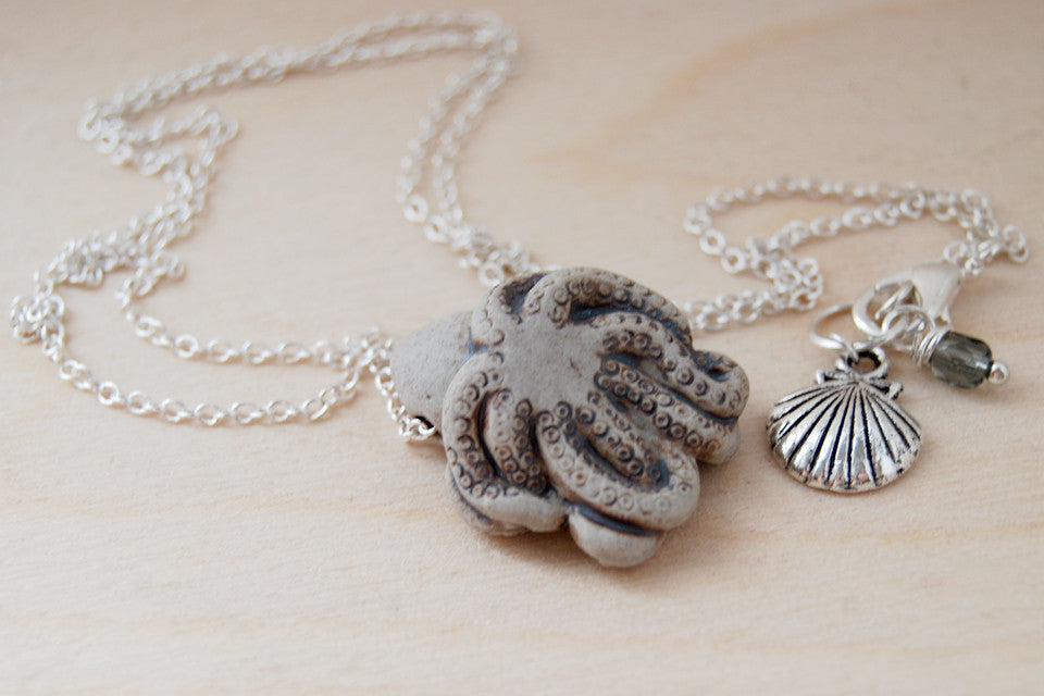 Grey Octopus Necklace