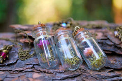 Star Daisy Flower Bottle Terrarium | Glass Garden Bottle Necklace | Nature Flower Jewelry