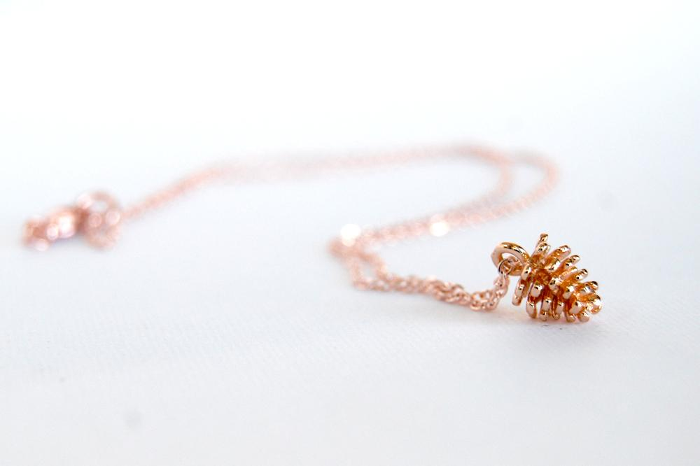 Rose Gold Pine Cone Necklace | Nature Jewelry | Fall Pinecone Charm Necklace - Enchanted Leaves - Nature Jewelry - Unique Handmade Gifts