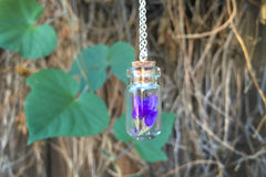 Purple Flowers - Garden Bottle Necklace