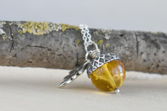 Baltic Amber and Silver Acorn Necklace | Real Amber Necklace | Nature Jewelry | Fall Acorn Charm Necklace
