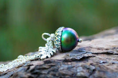 Sylvan Magic Acorn Necklace | Iridescent Green and Silver Acorn Pendant | Nature Jewelry | Fall Acorn Charm Necklace
