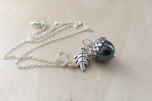 Hematite and Silver Acorn Necklace - Enchanted Leaves