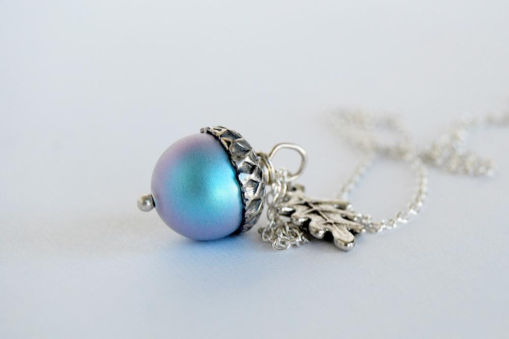 Tide Pool Magic Acorn Necklace | Iridescent Light Blue and Silver Acorn Pendant | Something Blue Wedding Jewelry | Fall Acorn Charm Necklace - Enchanted Leaves - Nature Jewelry - Unique Handmade Gifts