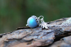 Tide Pool Magic Acorn Necklace | Iridescent Light Blue and Silver Acorn Pendant | Something Blue Wedding Jewelry | Fall Acorn Charm Necklace