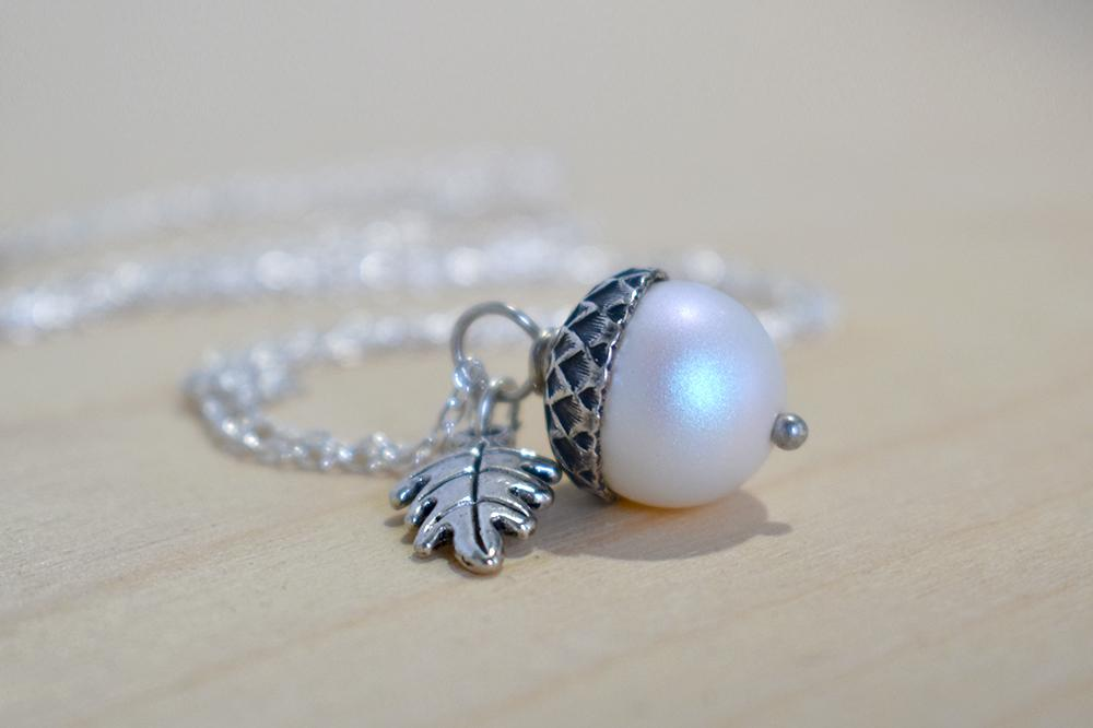 Faerie Magic Acorn Necklace | Iridescent White and Silver Acorn Pendant | Nature Jewelry | Fall Acorn Charm Necklace - Enchanted Leaves - Nature Jewelry - Unique Handmade Gifts