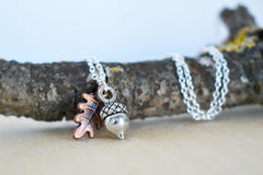 Tiny Silver Acorn Necklace | Cute Little Fall Acorn Charm Necklace | Oak Leaf and Acorn Jewelry