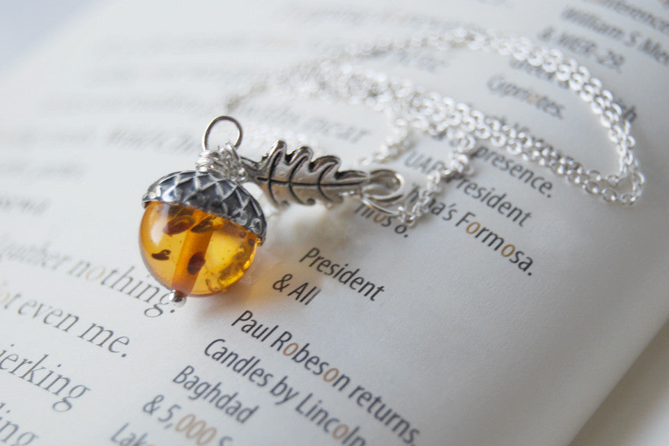Amber Acorn Necklace with a Silver Acorn Cap