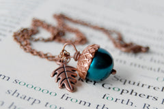 Aqua and Copper Pearl Acorn Necklace