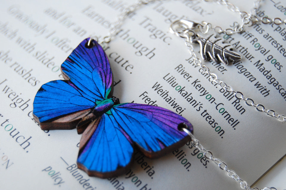 Blue Morpho Butterfly Necklace