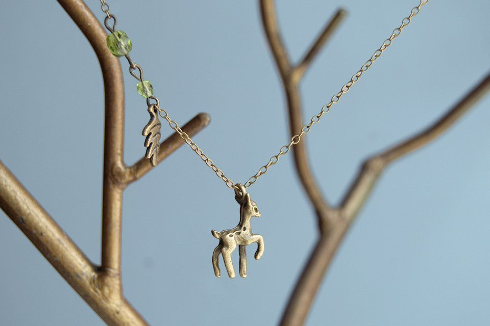 Little Brass Deer Necklace