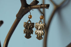 Brass Owl Earrings
