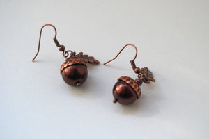 Copper Acorn Earrings - Enchanted Leaves