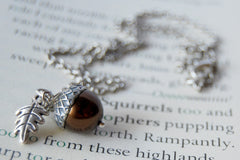 Chocolate and Silver Pearl Acorn Necklace