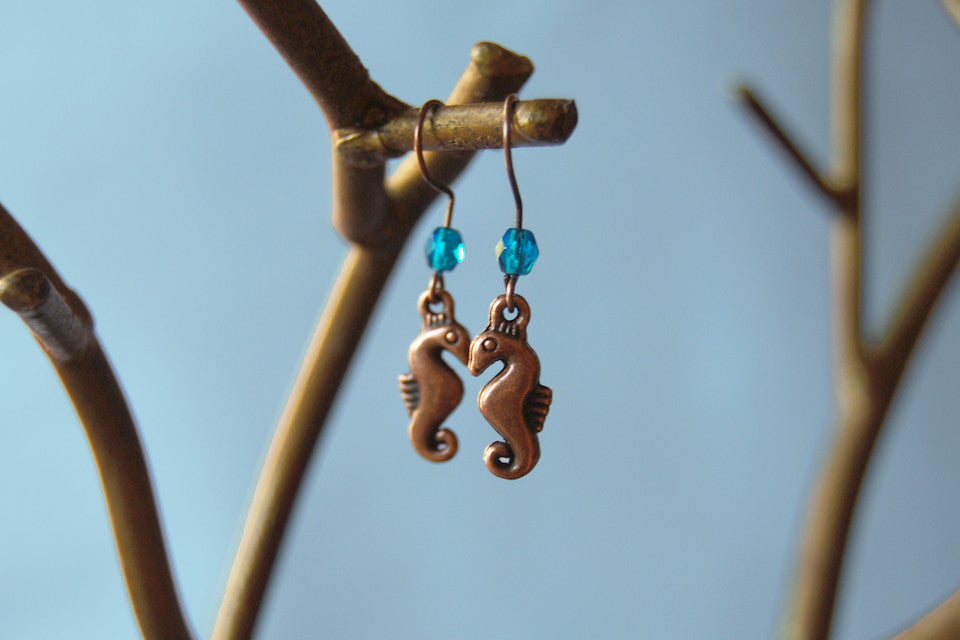Copper Seahorse Earrings
