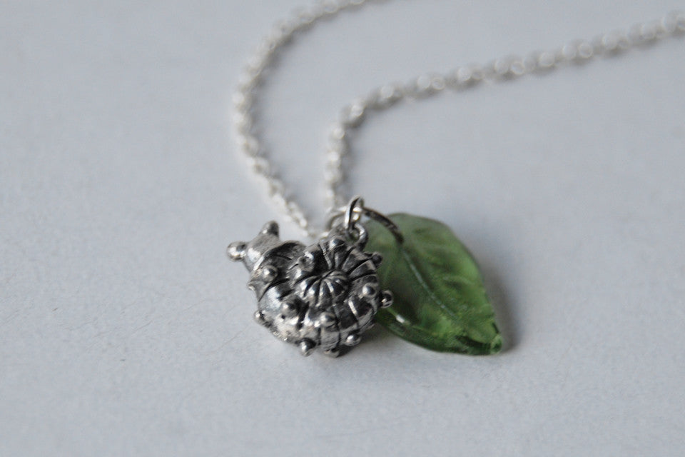 Tiny Garden Snail Necklace